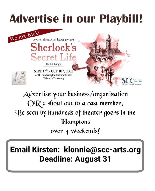 Advertise in Sherlock's Secret Life Playbill